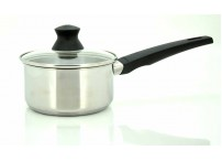 Sauce pan 1,6 liter The sauce pan is produced in stainless steel.  The glass lid have a practical steam hole and the sauce pan is suitable for all hobs - including induction