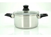 Casserole 4,9  liter The casserole is produced in stainless steel.  The glass lid have a practical steam hole and the casserole is suitable for all hobs - including induction