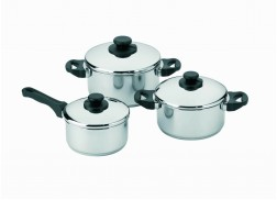 6 pcs cookware set Cookware set in 18/8 stainless steel with steam holes in the lid. Suitable for all hobs - including induction