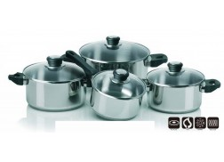 8 pcs cookware set Cookware set in stainless steel with steam holes in the lid. Suitable for all hobs - including induction